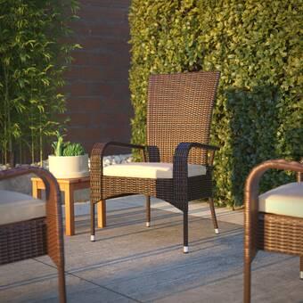 Lawn Patio Sense Bondi Deluxe Wicker Armchair Backyard Porch Garden Mocha Brown Finish All Weather Wicker Pool Khaki Cushion Sunbathing | Outdoor Comfortable Lounge Chair for Patio