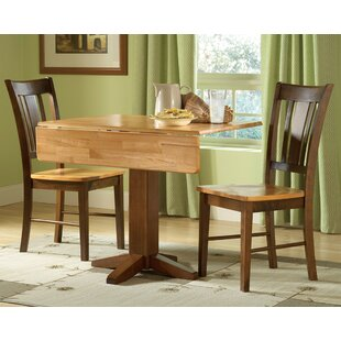 Pine Haven 3 Piece Drop Leaf Solid Wood Dining Set by Loon Peak