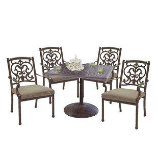 Astoria Grand Palazzo Sasso 5 Piece Square Dining Set with Cushions