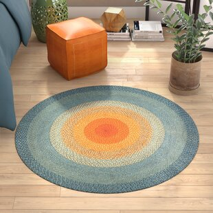 Hand-Braided Blue/Orange Area Rug by Bungalow Rose