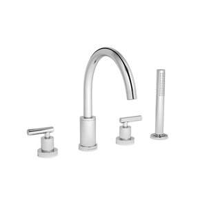 Sereno Double Handle Deck Mount Roman Tub Faucet with Hand Shower