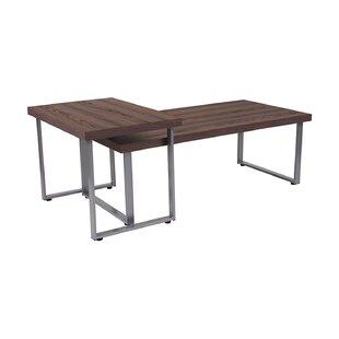 Ebern Designs Marlys Wood Grain Finish 2 Piece Coffee Table Set