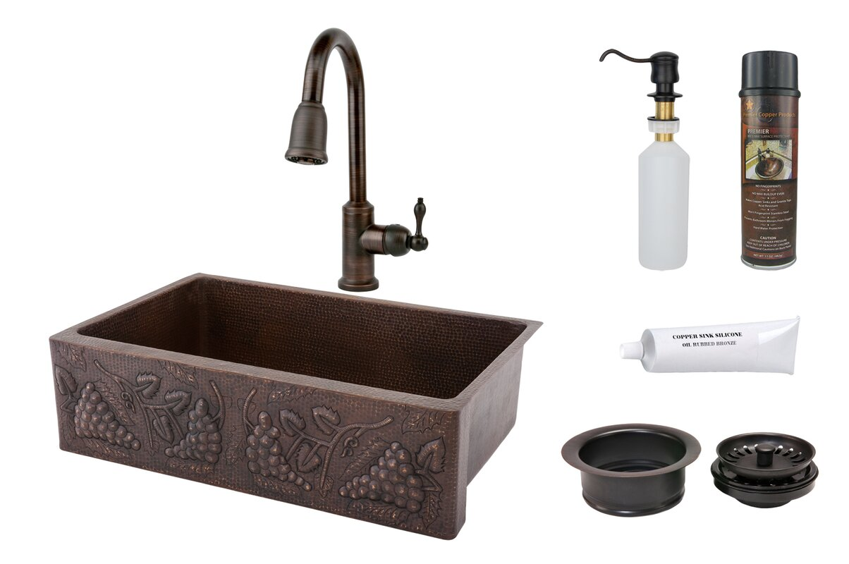 """33"""" x 22"""" Hammered Apron Kitchen Sink with Faucet"""