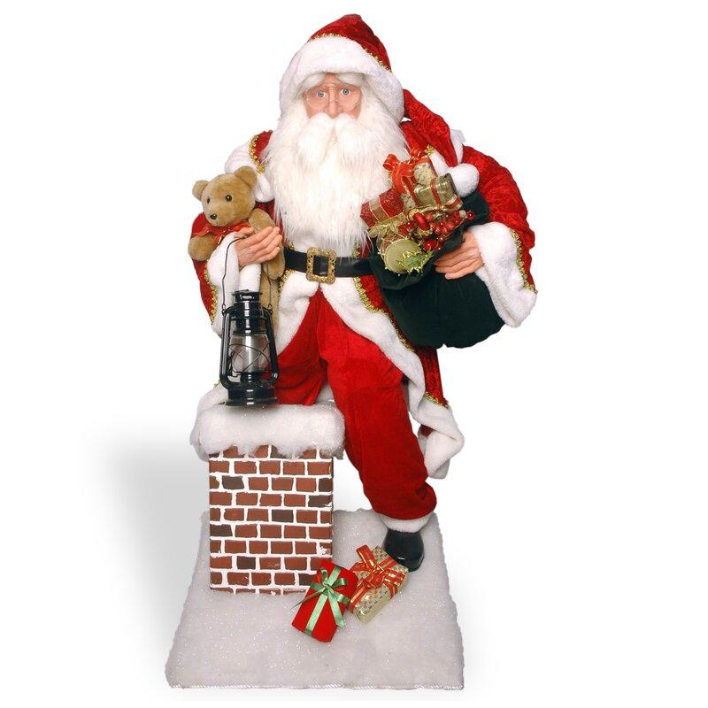Plush Décor Plush Santa Climbing Chimney Christmas Decoration