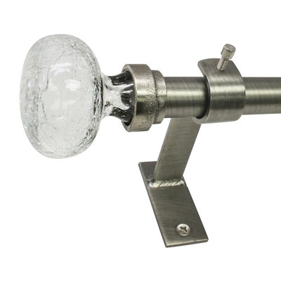 Three Posts Sheena Crackle Knob Single Curtain Rod and Hardware Set Finish: Pewter, Size: 36 - 72 W