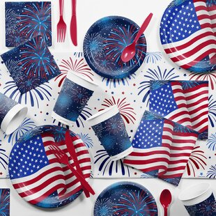 81 Piece Patriotic Paper/Plastic Disposable Party Supplies Kit