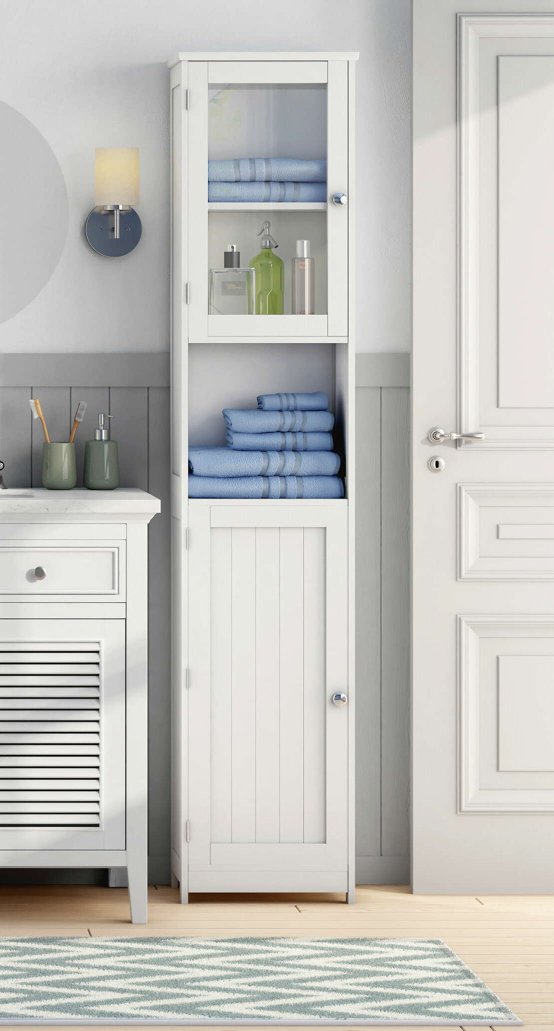 All Home 40 x 189cm Free Standing Tall Bathroom Cabinet & Reviews ...