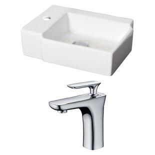 Ceramic Rectangular Vessel Bathroom Sink with Faucet ByRoyal Purple Bath Kitchen