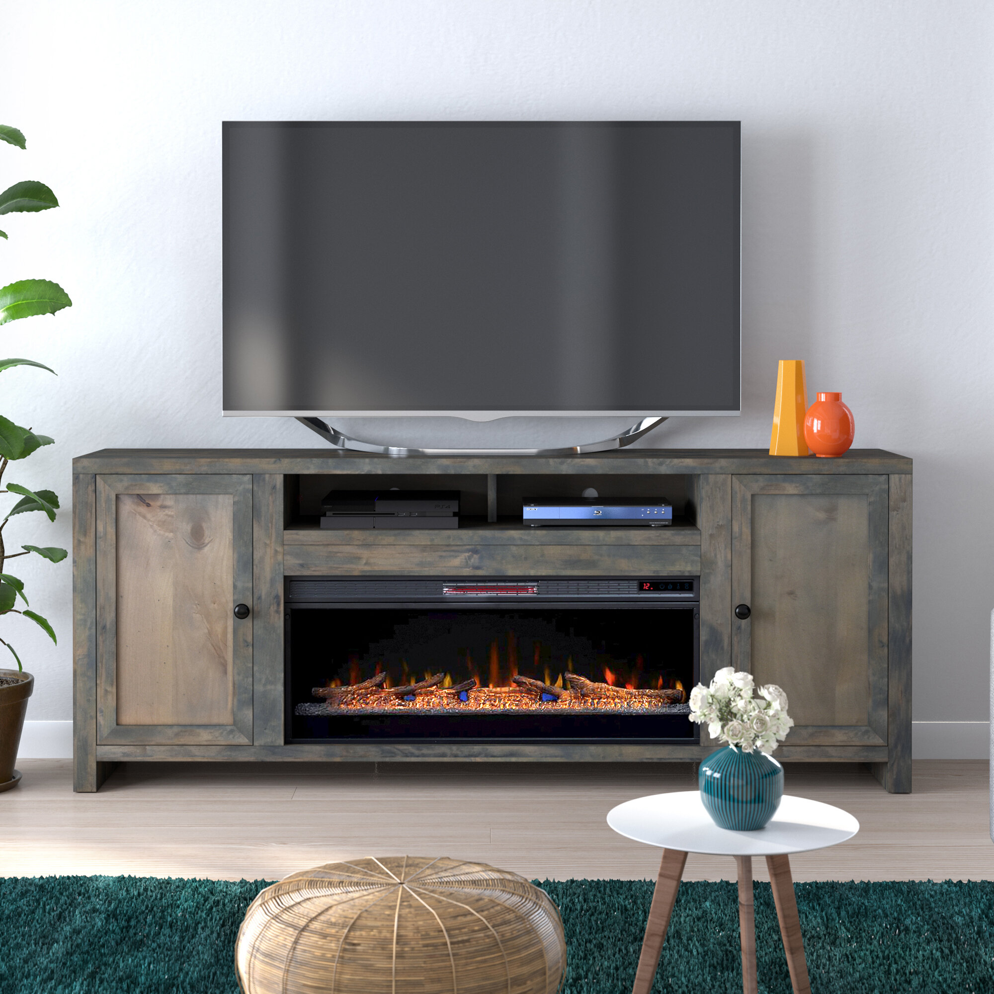 Loon Peak Lyla Tv Stand For Tvs Up To 88 With Electric Fireplace Included Reviews Wayfair