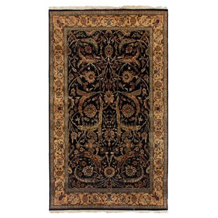 Reviews Moghul Hand-Knotted Wool Black/Gold Area Rug ByExquisite Rugs