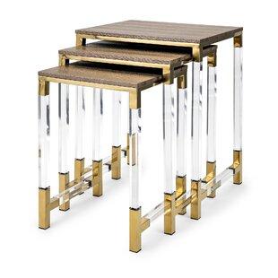 Everly Quinn Elle Acrylic Leg 3 Piece Nesting Tables