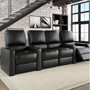 Latitude Run Premium Home Theater Row Seating with Chaise Footrest (Row of 4)