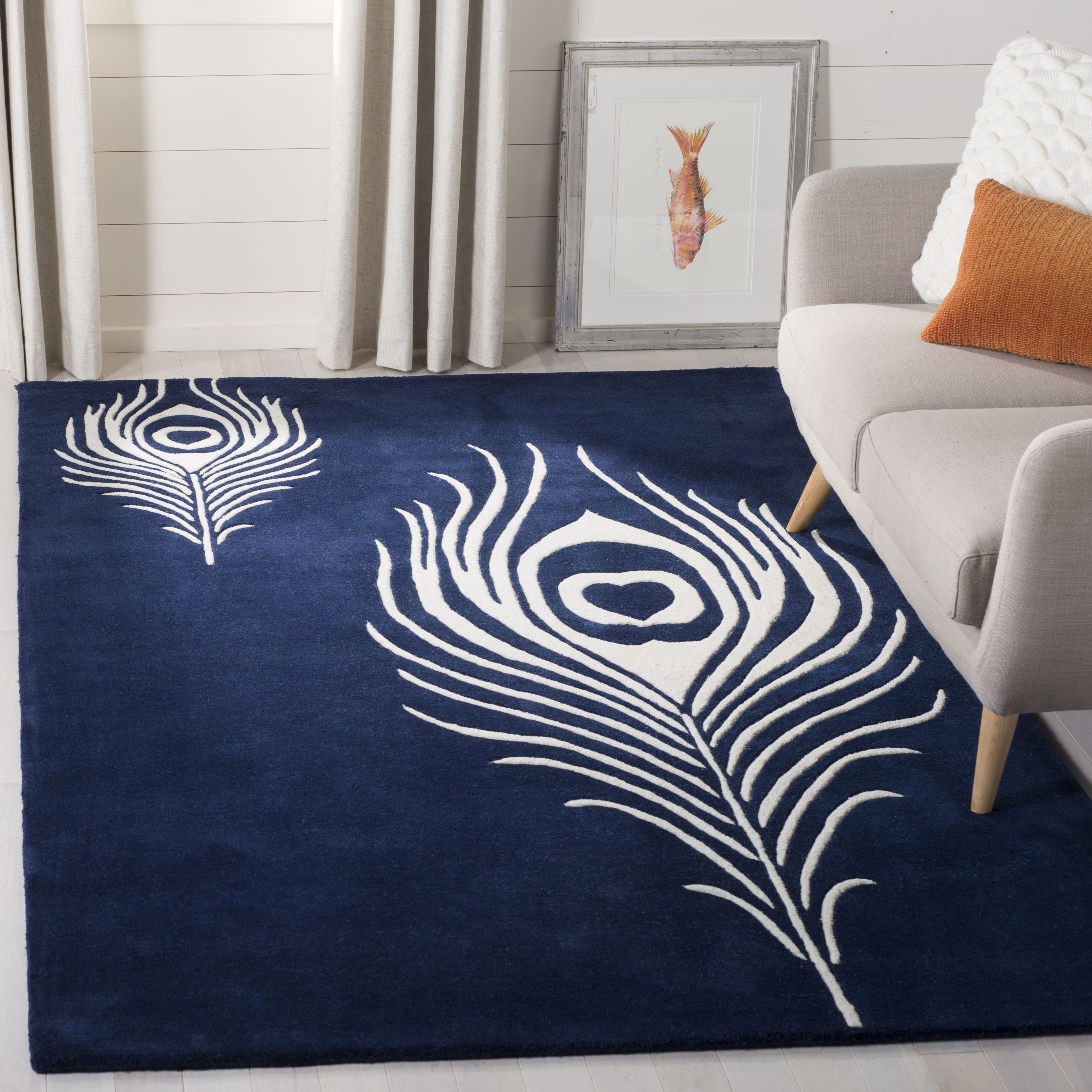 Zipcode Design Chanler Hand Tufted Navy Ivory Contemporary Rug Reviews Wayfair