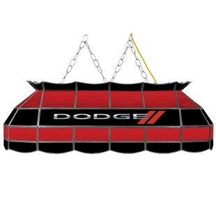 Trademark Global Dodge Logo Stained Glass 1-Light Bowl Pendant
