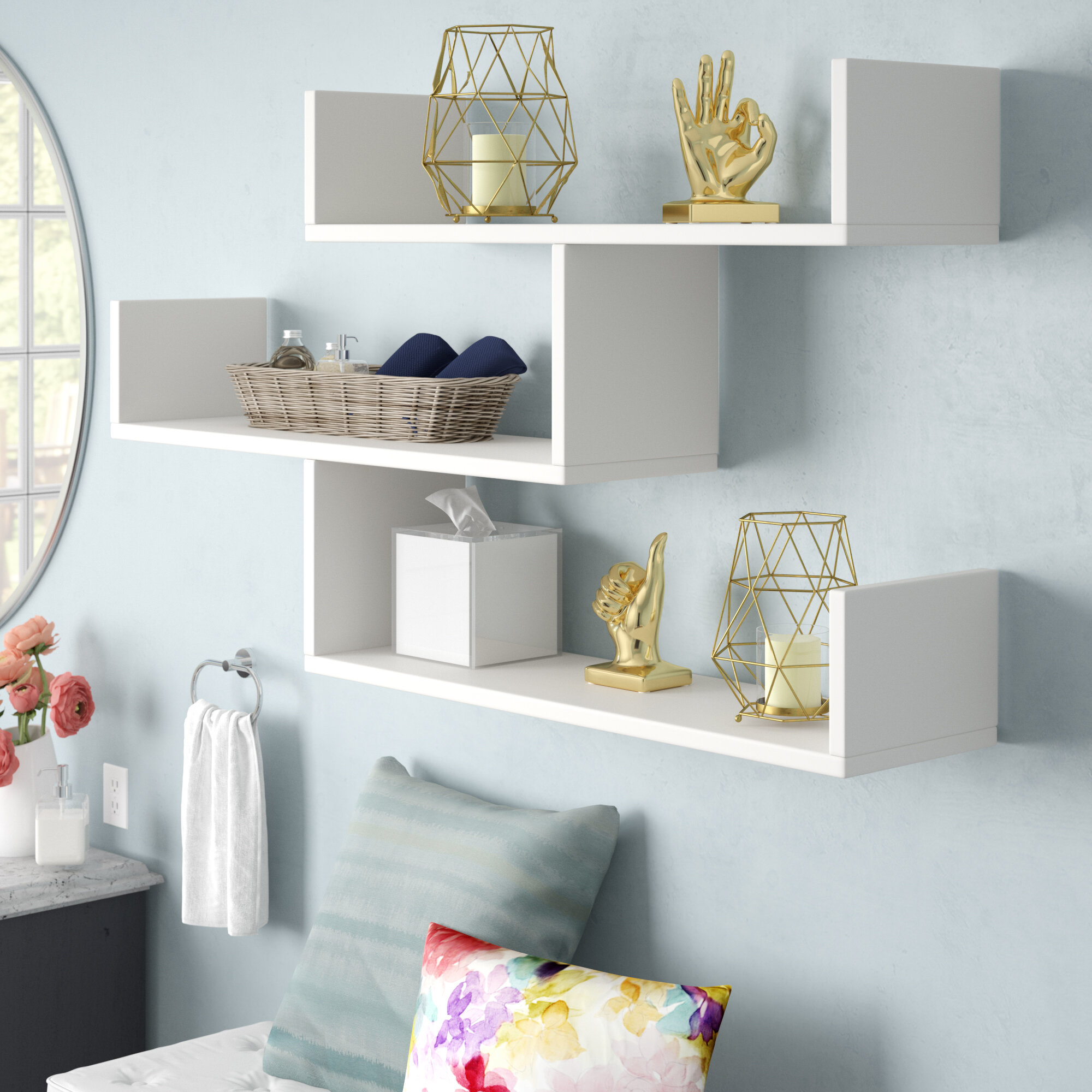 Wall To Wall Shelves mckenny modern wall shelf