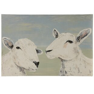 'Bashfull Sheep' Framed Acrylic Painting Print on Canvas by August Grove