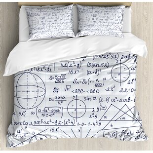 East Urban Home Modern School Genius Bright Student Math Geometry Science Numbers Formules Image Duvet Set