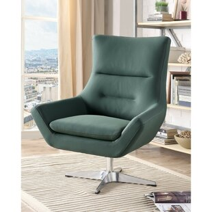 Mosely Faux Leather Upholstered Metal Swivel Armchair by Orren Ellis