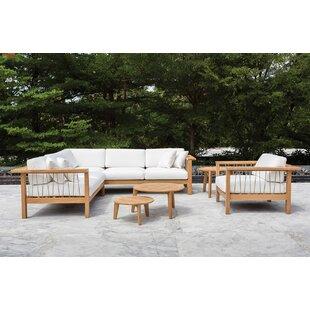 OASIQ Maro 3 Piece Teak Sunbrella Sectional Set with Cushions