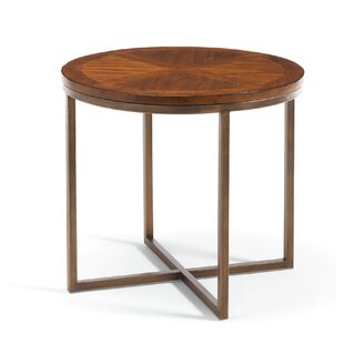 Francina Pine and Metal End Table