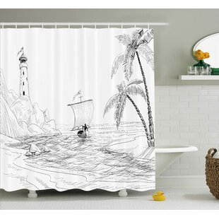 Bryner Beach Seascape Sketch With Boat Palm Tree and Lighthouse Coastal Hand Drawn Artwork Shower Curtain