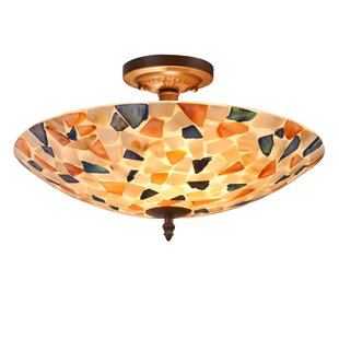 Hennis Mosaic 2-Light Semi Flush Mount by Highland Dunes