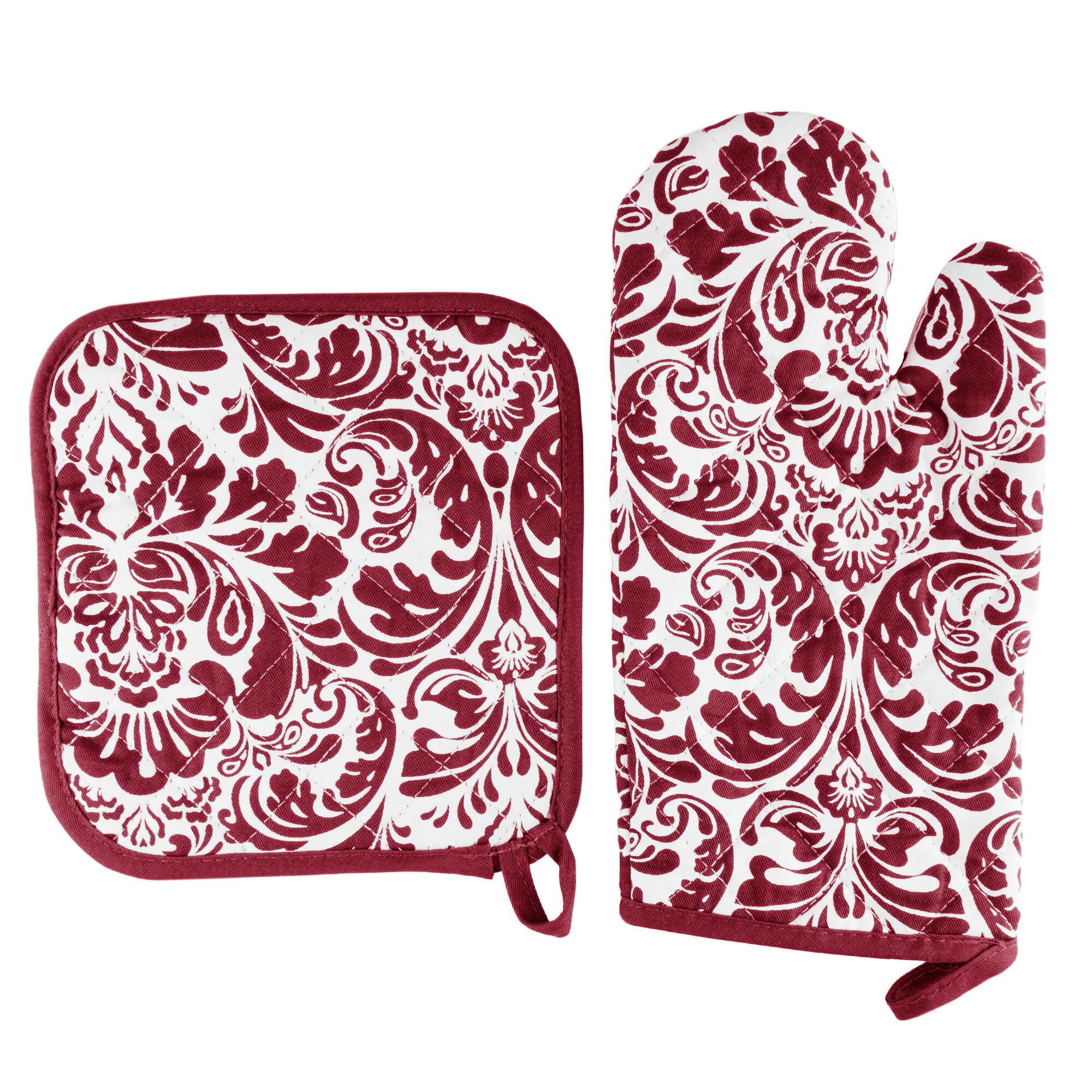 607bb18156c Lavish Home Damask Quilted 2 Piece Oven Mitt and Pot Holder Set   Reviews