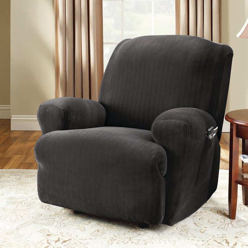 Stretch Pinstripe T-Cushion Recliner Slipcover & Sure Fit Stretch Pinstripe T-Cushion Recliner Slipcover u0026 Reviews ... islam-shia.org
