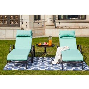 Wabbaseka Sun Lounger Set with Cushion and Table