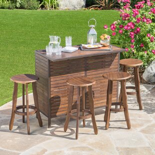 Loon Peak Rockridge Outdoor Acacia Wood 5 Piece Home Bar Set