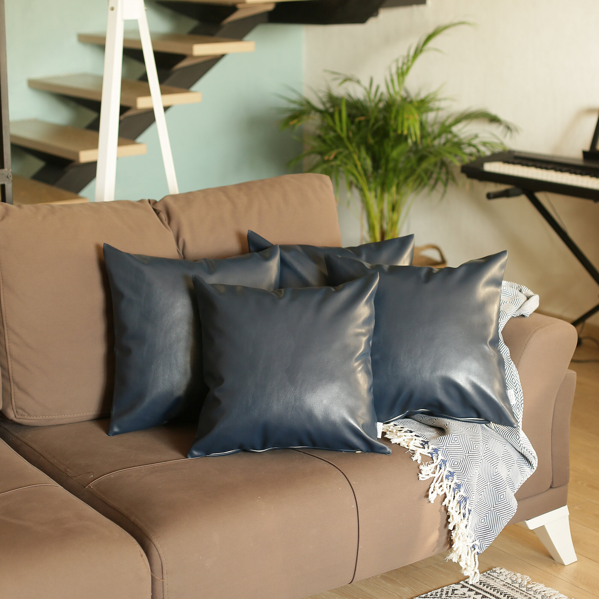 Faux Leather Navy Throw Pillows You Ll Love In 2021 Wayfair