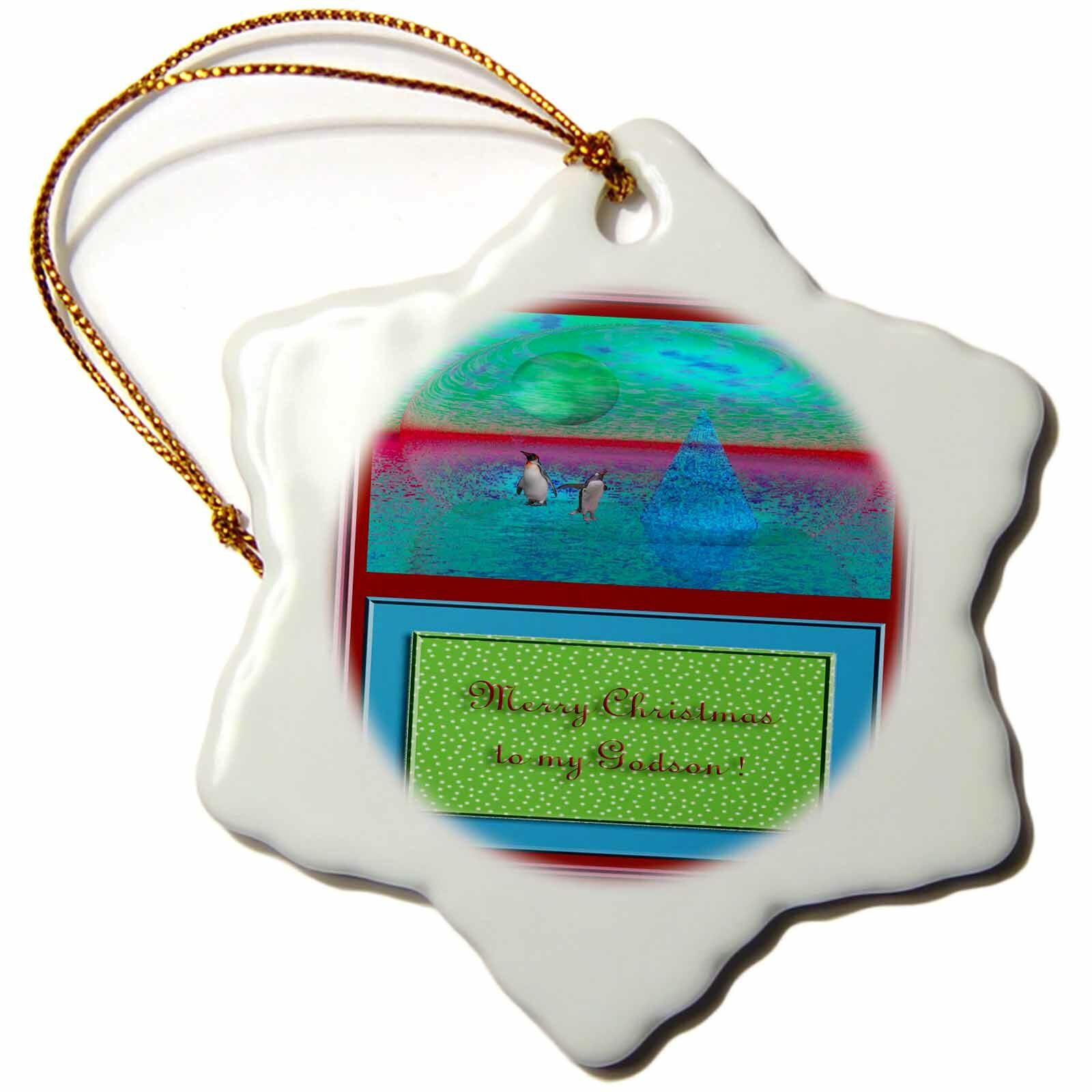 The Holiday Aisle Penguinland 3d Merry Christmas To My Godson Holiday Shaped Ornament Wayfair