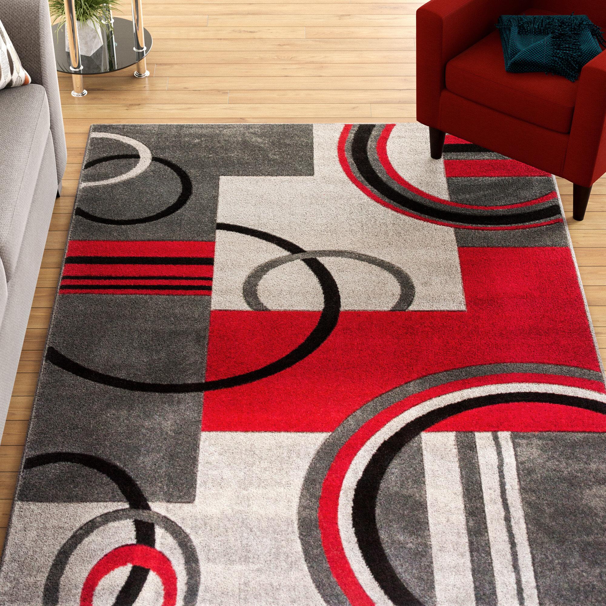 Zipcode Design Dawson Galaxy Waves Grey Red Area Rug Reviews