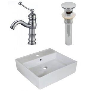 Savings Ceramic Square Vessel Bathroom Sink with Faucet ByAmerican Imaginations