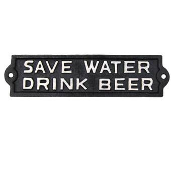 de Save Water Drink Beer weathered metal sign