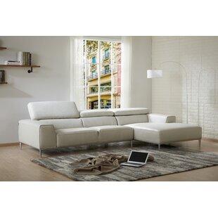 Yablonski Sofa & Chaise Leather Sectional By Orren Ellis
