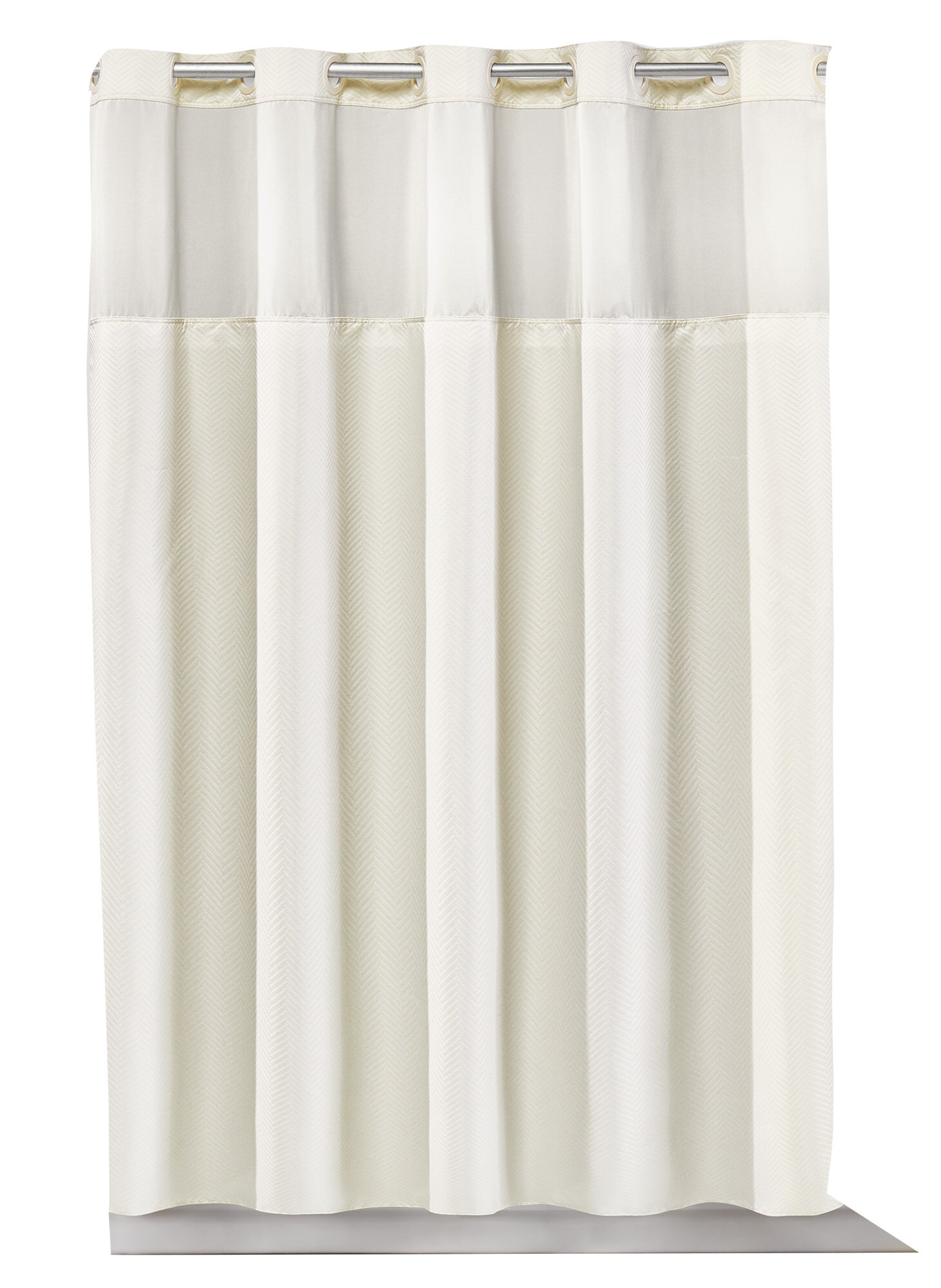 Hookless Montage Chevron Plain Weave Shower Curtain With Fabric