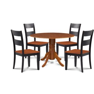 Kieran 5 Piece Drop Leaf Solid Wood Dining Set by Millwood Pines Cool