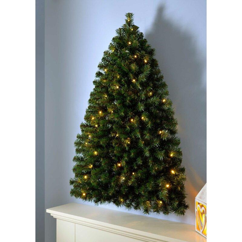 Pre-Lit Wall Mounted 3ft Green Pine Artificial Christmas Tree with 50 LED  Lights - The Seasonal Aisle Pre-Lit Wall Mounted 3ft Green Pine Artificial