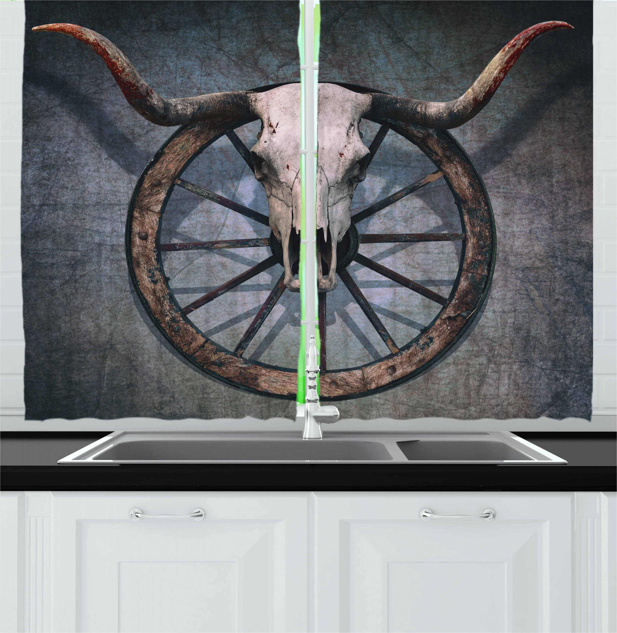 7x10 FT Barn Wood Wagon Wheel Vinyl Photography Backdrop,Long Horned Bull Skull and Old West Wagon Wheel on Rustic Wall Background for Baby Birthday Party Wedding Studio Props Photography
