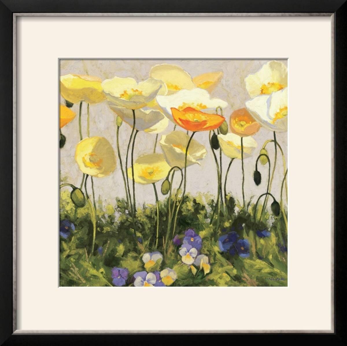 Charlton Home \'Poppies and Pansies II\' Framed Print   Wayfair