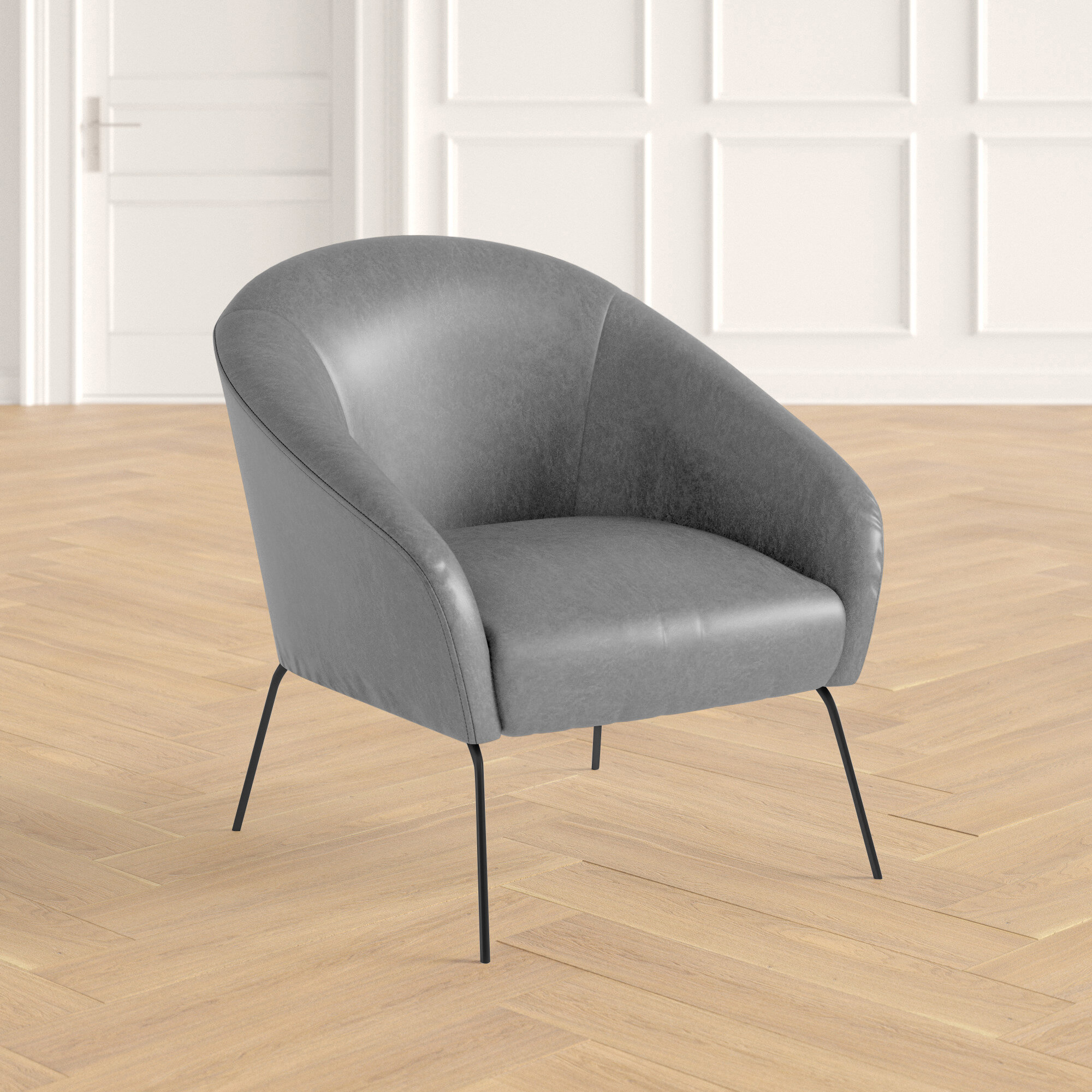 Picture of: Achilles 31 W Faux Leather Barrel Chair