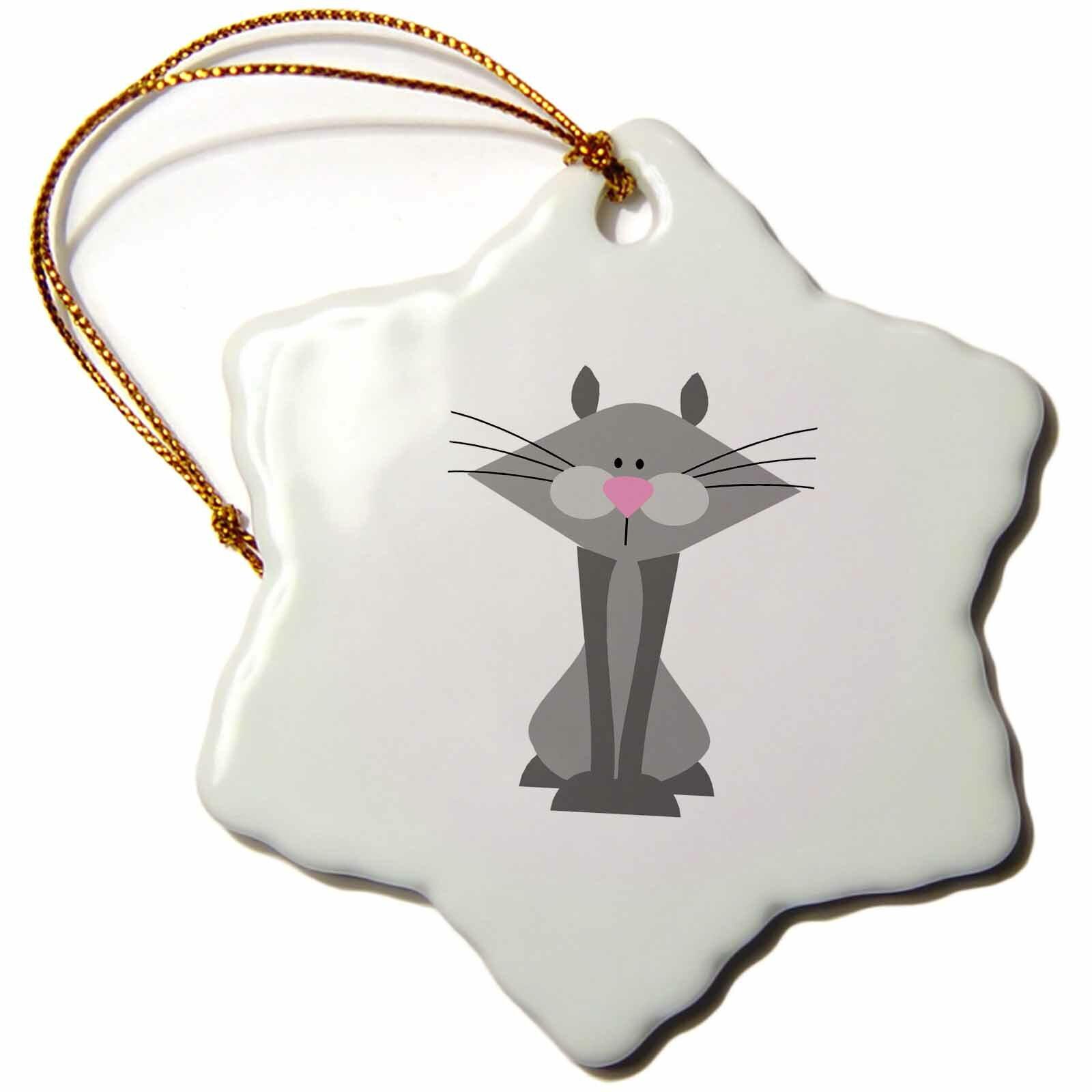 The Holiday Aisle Snowflake Ornament Cartoon Grey Kitty Cat 3 Inches 2b28200b1c6e42798107a01410df57fd Wayfair Ca