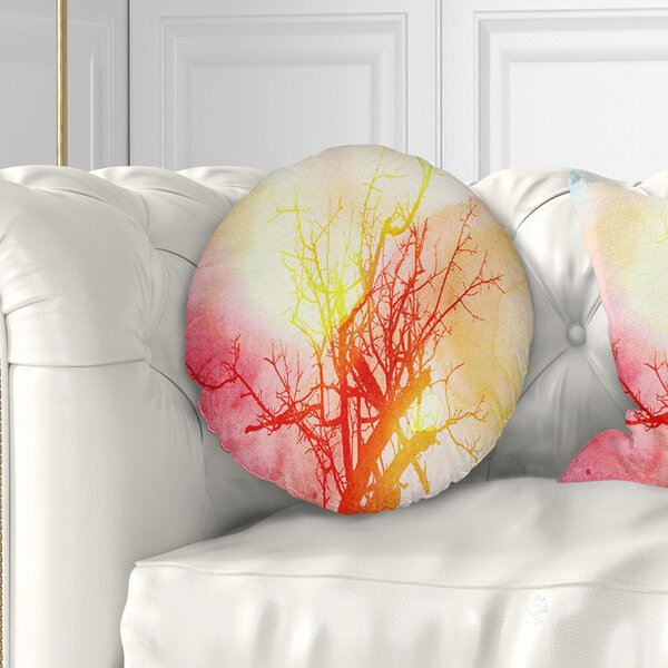 Pleasant Tree With Colorful Smoke Throw Pillow Inzonedesignstudio Interior Chair Design Inzonedesignstudiocom
