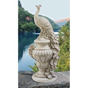 Staverden Castle Peacock on an Urn Garden Statue