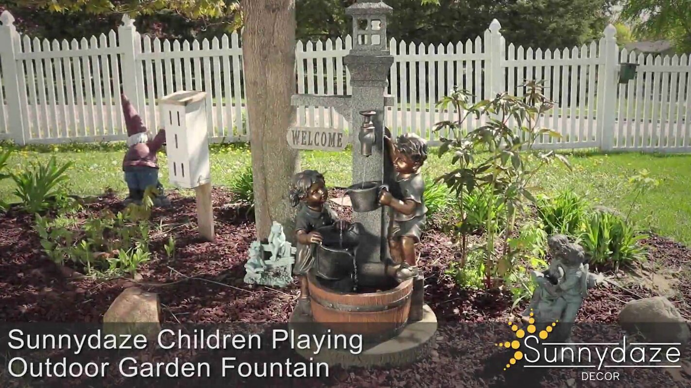 SunnyDaze Decor Polyresin Children Playing with Water Faucet Outdoor ...