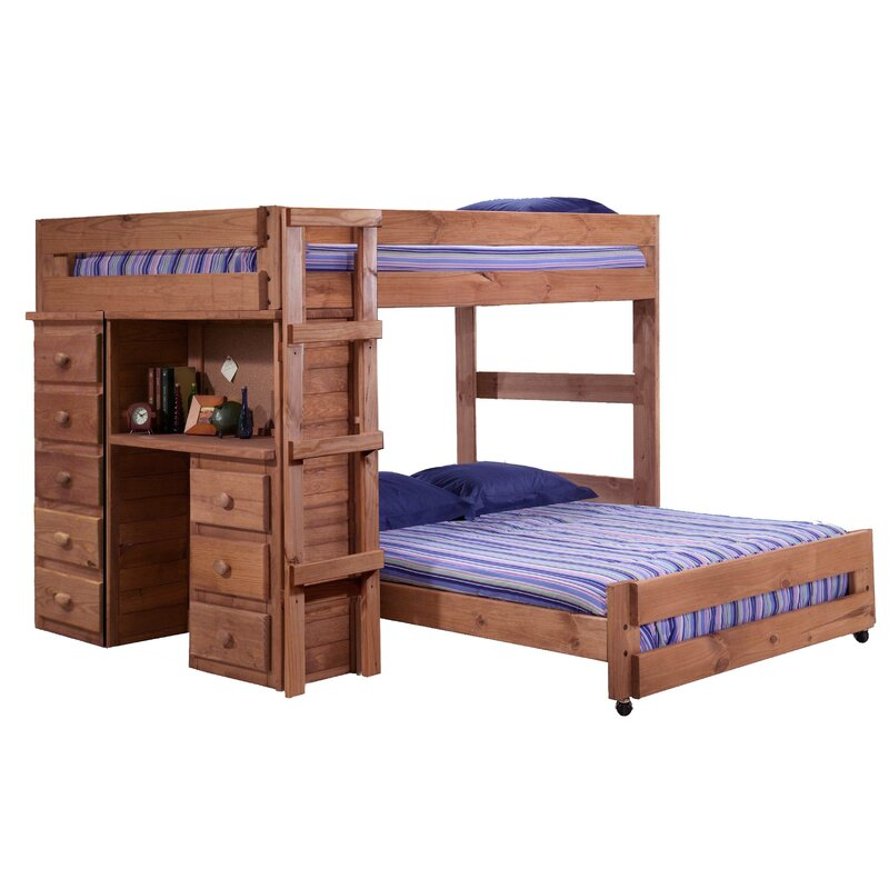Choe Full Over Full L Shaped Bunk Bed With Desk And Drawer