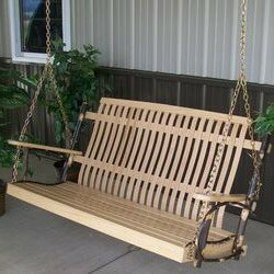 Zircon Hickory Porch Swing by Loon Peak