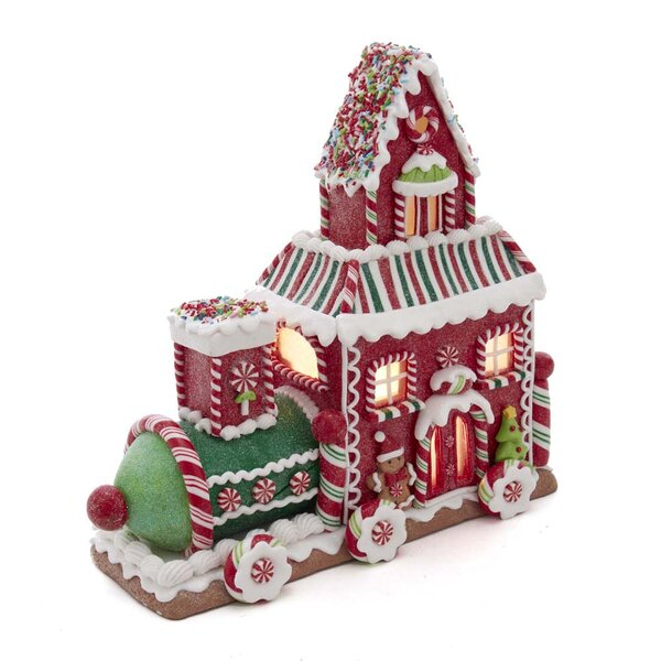 Kurt Adler Set of 3 7 Battery Operated LED Lighted Claydough Colorful Gingerbread House Christmas Figure