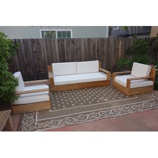 Braeden 3 Piece Teak Sofa Seating Group with Sunbrella Cushions by Longshore Tides